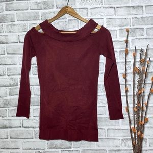 Poof! Cold shoulder maroon long sleeve sweater S